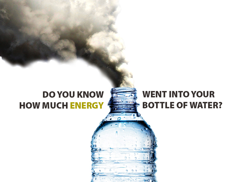 An image of smoke billowing out of a water bottle with the caption