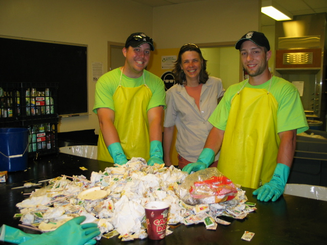 University of Saskatchewan Office of Sustainability recycling volunteers helping to sort waste as part of Green Pack
