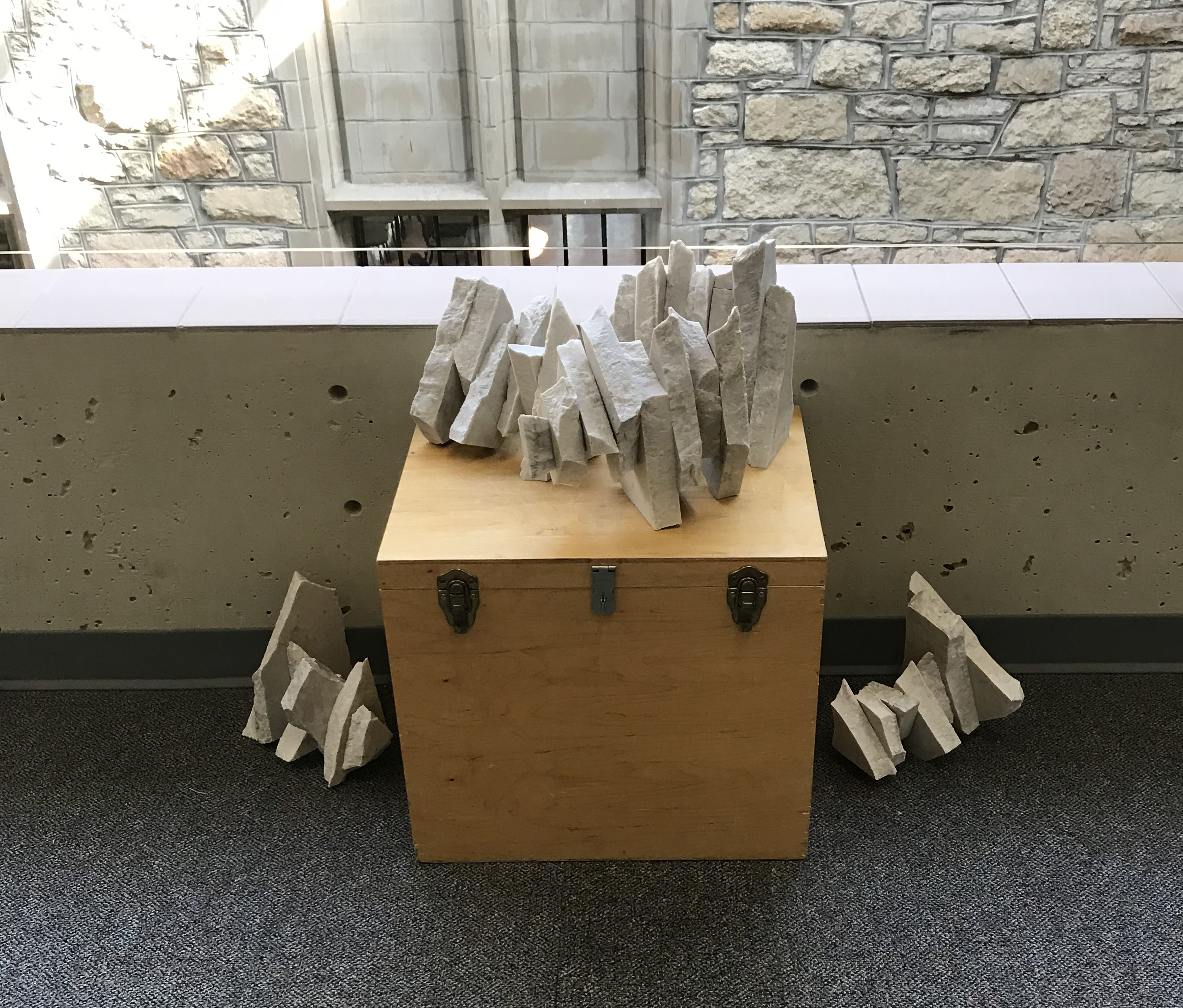An art project created from discarded and repurposed stone countertops for ARTCycled 2018 by Gloria Simplkins