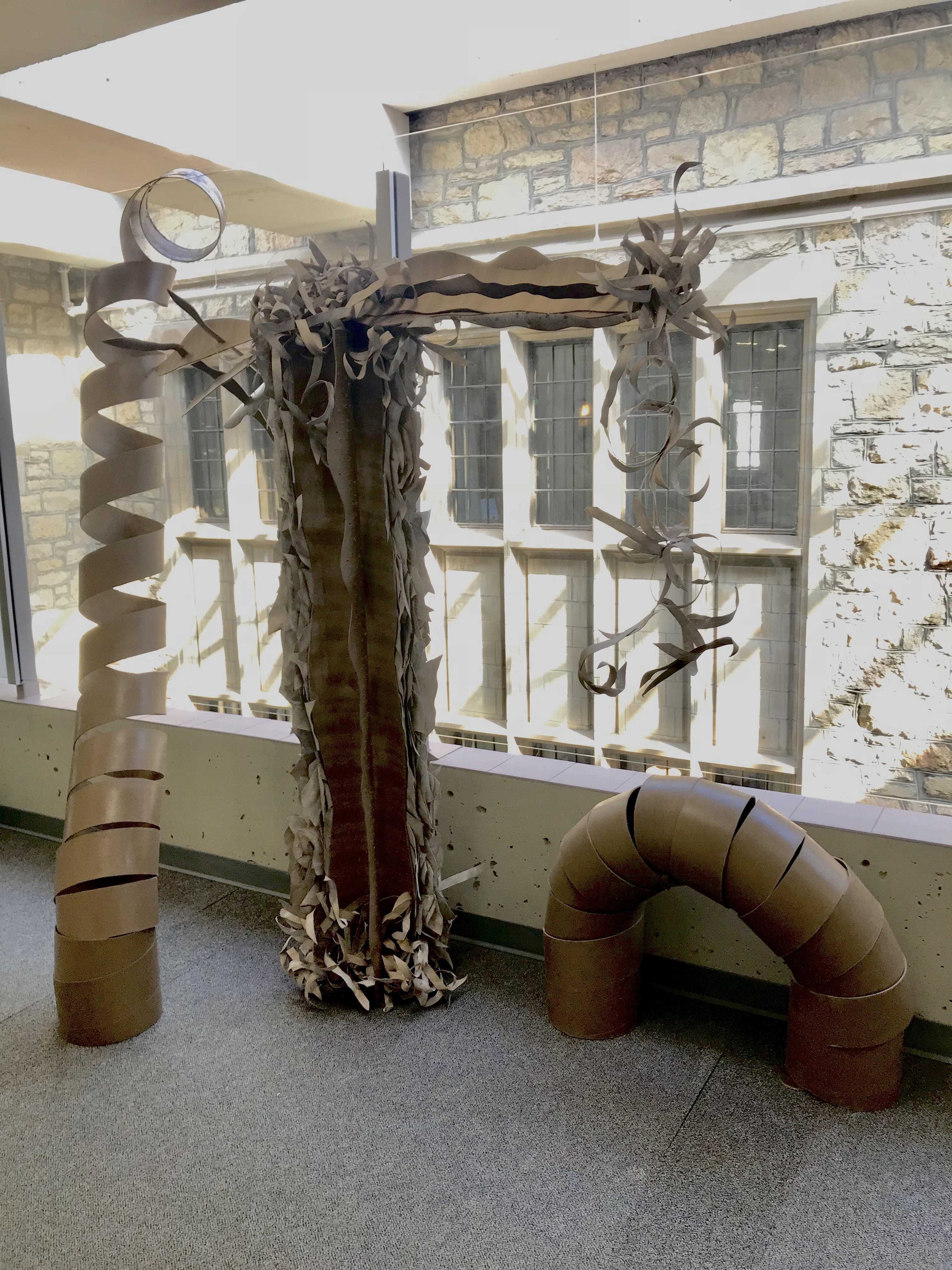 An sculpture created from discarded paper tubes for ARTCycled 2018 by Hailey Jones