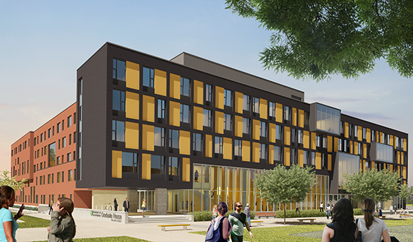 An artist's rendering of the new Graduate House residence