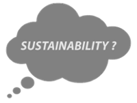 A thought bubble with the word 'sustainability' inside